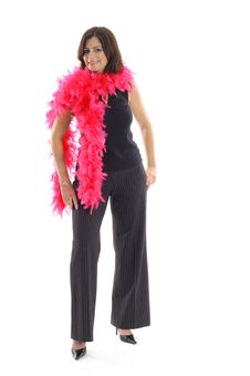 Free Woman With Pink Boa Vertical Royalty Free Stock Image - 15146696