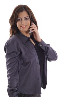 Woman Taking Call On Cell Phone Vertical Royalty Free Stock Photography