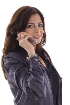 Woman Taking Call On Cell Phone Stock Photography