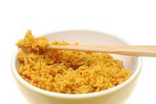 Closeup Of Rice And Chopsticks In A Bowl Royalty Free Stock Images