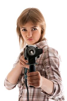 Free Young Beautiful Girl With Perforator Stock Photo - 15147260