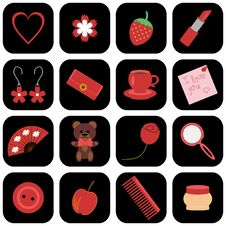 Set Of Icons With Lady S Objects Stock Photos