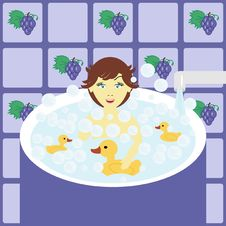 Free Little Girl In Bath Stock Photography - 15148322