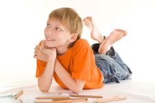 Free Boy Lying  And Draw Stock Photos - 15149913