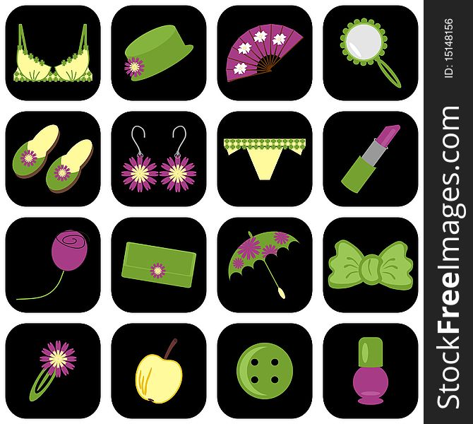 Set of icons with lady s objects