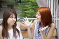 Free Two Girls Gossiping On Bench At Garden. Stock Photography - 15154992