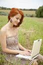 Free Young  Fashion Girl With Noteboot At Field Stock Image - 15155441