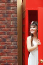Free Bride In The Telephone Cabin Stock Photo - 15156300