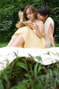 Free Teen Girls Reading A Book Outdoors Royalty Free Stock Photography - 15159817