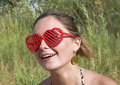 Free Girl Smiling In Red Sunglasses Stock Images - 15159844