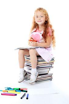 Free Girl On Books Royalty Free Stock Photo - 15150565