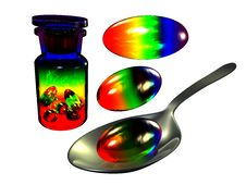 Free Rainbow Pill On Spoon Royalty Free Stock Photography - 15150687