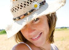Free Happy Girl With Hat Stock Photos - 15151793