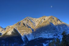 Free HDR Rocky Mountain With Moon Royalty Free Stock Photography - 15152567