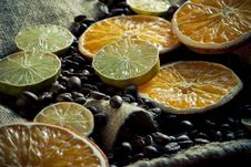 Free Coffee Beans With Orange And Lemon Royalty Free Stock Photos - 15154288