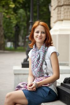 Portrait Of Beautiful Red-haired Girl Stock Image