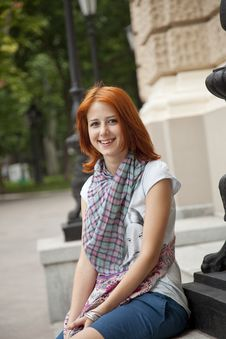 Portrait Of Beautiful Red-haired Girl Royalty Free Stock Images