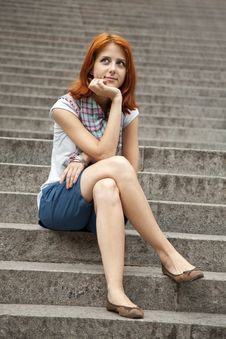 Free Portrait Of Beautiful Red-haired Girl On Footstep. Stock Photos - 15154553
