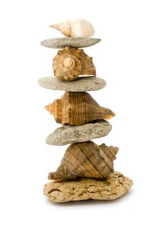 Free Pyramid Of Stone And Cockleshells Royalty Free Stock Images - 15154589