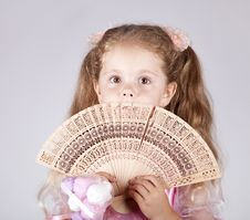 Free Portrait Of Beautiful Young Girl With Fan Stock Photos - 15154683