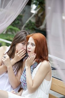 Two Girls Gossiping On Bench At Garden. Stock Images
