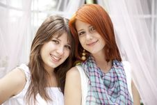Free Portrait Of Two Beautiful Girls Royalty Free Stock Image - 15154986