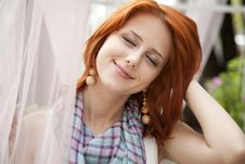 Free Portrait Of Beautiful Red-haired Girl. Royalty Free Stock Photo - 15155105