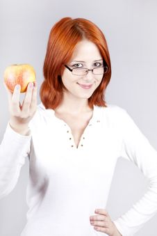 Free Girl With Apple In Hand. Royalty Free Stock Image - 15155166
