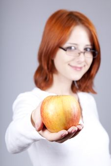 Free Girl With Apple In Hand. Stock Photography - 15155182