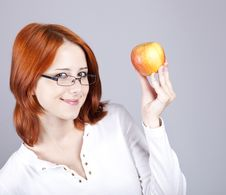 Free Girl With Apple In Hand. Royalty Free Stock Images - 15155189