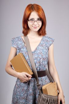 Free Red-haired Girl Keep Book In Hand. Royalty Free Stock Image - 15155226