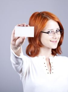 Free Portrait Of An Young Woman With Blank White Card Stock Images - 15155374