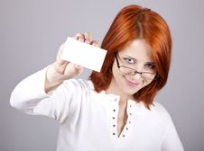 Free Portrait Of An Young Woman With Blank White Card Stock Photography - 15155402
