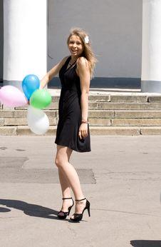 Free Joyful Girl With Balloons Royalty Free Stock Photos - 15155578