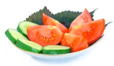 Free Cucumber, Tomato, Basil On A Saucer Royalty Free Stock Photography - 15155647
