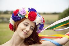 Slav Girl With Wreath At Field Royalty Free Stock Photos