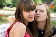 Free Two Female Friends  On Bench Royalty Free Stock Images - 15155819