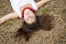 Free Beautiful Girl Lying At Hay Field. Royalty Free Stock Photography - 15155897