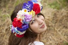 Slav Girl With Wreath At Field Royalty Free Stock Image