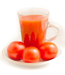 Free Tomato Juice And Tomato On A Saucer Three Stock Photo - 15155950