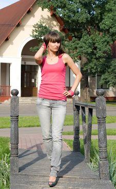 Girl Walking In Park Stock Image