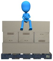 Free 3d Blue Character On The Box Stock Images - 15155984