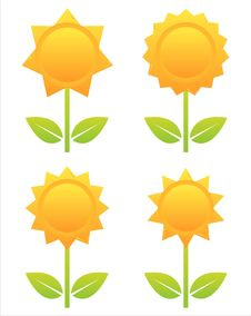 Free Set Of 4 Flowers Icons Royalty Free Stock Photography - 15156867