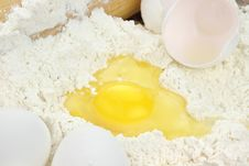 Flour And Eggs Royalty Free Stock Photo