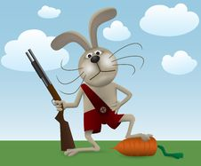 Free Rabbit With Carrot And Rifle Stock Photos - 15158753