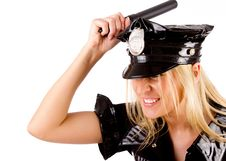 Free Policewoman Is Smashing With Stick Stock Images - 15159244
