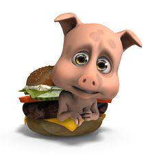 Cute And Funny Toon Pig Served In A Burger As A Royalty Free Stock Photo