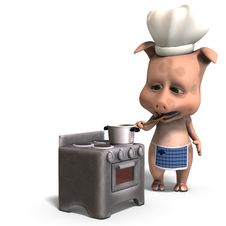 Free The Cook Is A Cute Toon Pig Royalty Free Stock Photography - 15159487