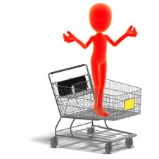 Free Symbolic 3d Male Toon Character Goes Shopping Stock Photo - 15159510