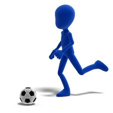 Free Symbolic 3d Male Toon Character Plays Soccer Or Royalty Free Stock Image - 15159516